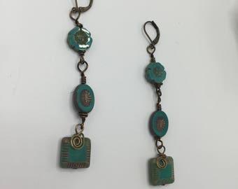 Turquoise Green  Flowers Czech Glass Dangle Earrings \\ Square Beaded Earrings \\  Spiral Wrap Earrings\\ Wire Work Earrings