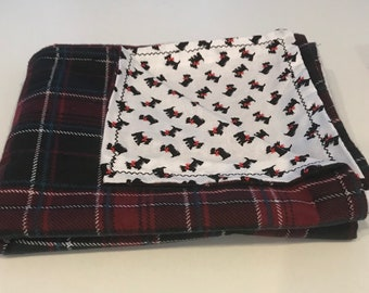 Red Flannel and Scottie Dog Blanket