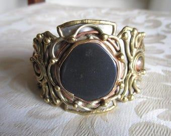 Black Onyx Copper Brass & Silver Cuff Bracelet