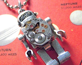 Steampunk Robot Necklace Vintage Watch Movement Silver Plated Metal Miniature Retro Toy Style From Cosmic Firefly Las Vegas