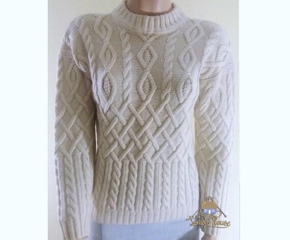 Frauen handgemachte Zopfmuster Rundhals Pullover Warm Winter