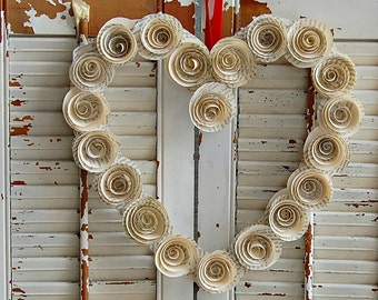 Valentine Day Wreath /  Heart Wreath /  Book Page Rose Wreath / Wedding Decor