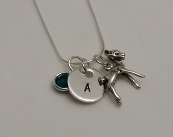 Deer necklace with Initial charm