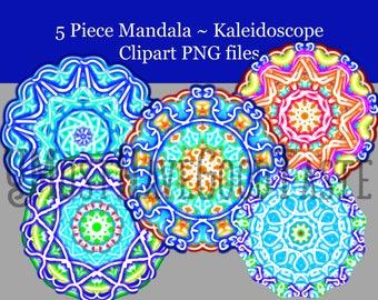Flower , Mandala clip art, Kaleidoscope clip art,  Tribal clip art, multi colored  mandala clip art, clipart, 5piece,   PNG files