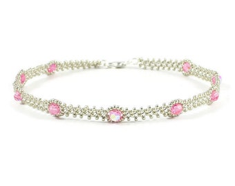 Pink Crystal Anklet - Bead Ankle Bracelet - Beadwork Jewelry - Daisy Chain Anklet - Summer Anklet - Beach Jewelry