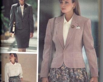 Vintage 1980s Power Suit Pattern, Butterick Designer Pattern for Misses Jacket, Blouse, and Long Skirt, Uncut Retro Suit Pattern Size 6 8 10