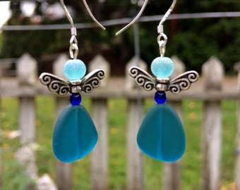 Blue Sea Glass Earrings, Fairy Earrings