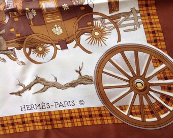 Hermes Bull and Mouth l'Hiver en Poste Real Vintage Silk Scarf