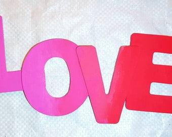 LOVE Wooden letters  in Pink/Red Blend