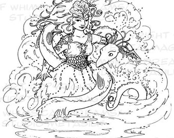 Sea Foam full-page coloring sheet with dragon, water, naiad (PDF, line art by Kir Talmage)