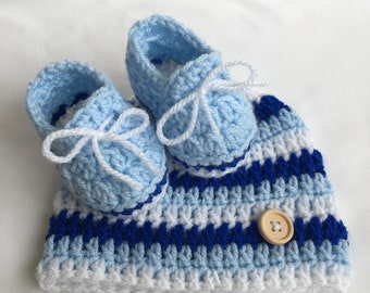 Blue baby hat, Blue baby booties, Hat for baby boy, Handmade booties, Blue booties, Baby hat and booties, Baby shower gift, Baby boy gift