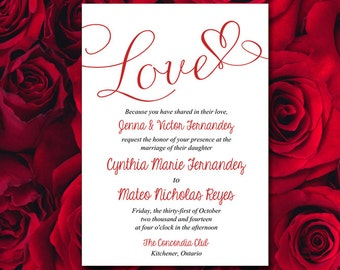 "Printable Wedding Invitation Template - Heart Invitation Wedding Template - ""Love"" Script Valentine Red Wedding Invitation Card Download"