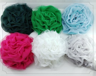 Wholesale 10yds - Blue Theme Chiffon Double Ruffled Tulle Embroidery Lace Trim Supplies