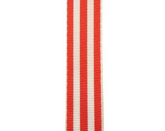 """7/8"""" - Orange Carnival Stripe Grosgrain Ribbon - Orange and White Stripes - Offray"""