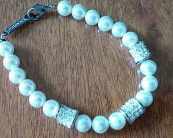 Vintage White Rhinestone Faux White Pearl Bead Bracelet Signed Napier Mother's Day