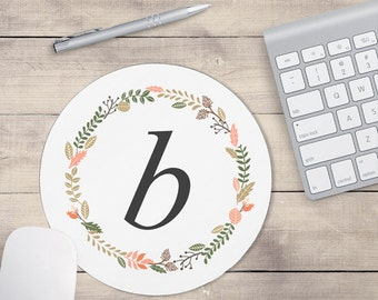 Light Grey Monogram Mouse Pad, Mouse pad Floral, Personalized Mouse pad, Monogram Coaster, Floral Coaster, Personalized Coaster (0031)