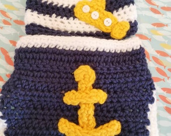 Baby boy crocheted diaper cover and hat set