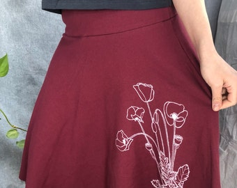 USA-Made Cotton Mid-length Skirt with Poppies