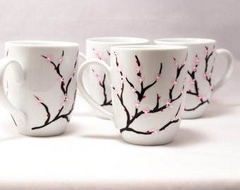 Hand painted cherry blossom coffee mugs, set of 4