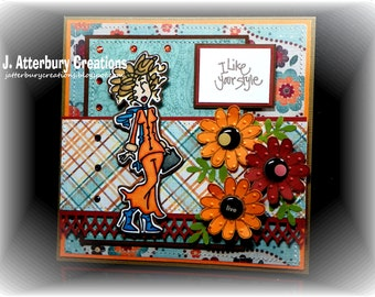 OOAK---I Like Your Style Flower Paisley Card + Matching Envelope Box