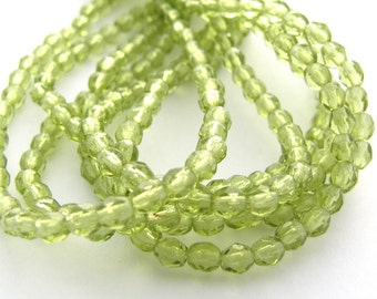 Olivine Green 3mm Facet Round Czech Glass Fire Polished Beads 50pc #2639