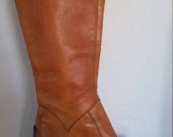 Amazing Vintage Tan Brown Leather Tall 1960's Platform Boots
