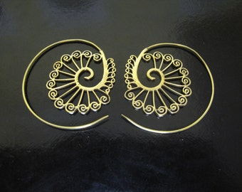 Brass Earrings, Brass Tribal Earrings, Tribal Earrings , Earrings, belly dance, spiral earrings