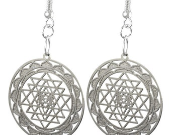 Shree Yantra or Sri Yantra  Outline Silver Plated Earrings 'Buy One Get Another Design Free'  ER-03-S-B
