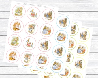 Beatrix Potter Peter Rabbit Party Circles - Printable INSTANT DIGITAL DOWNLOAD