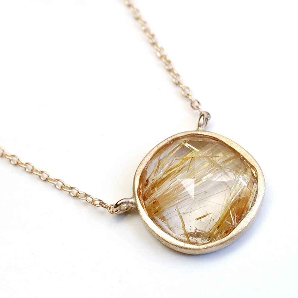 Rose cut necklace rutilated quartz necklace gold necklace zoom mozeypictures Images