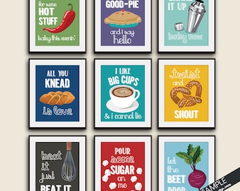 Funny Kitchen Song Series - Set of 9 Art Unframed Prints (Featured in Colors Assorted Colors) Kitchen Art