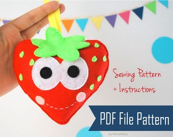 Strawberry Sewing Pattern, PDF Happy Strawberry Plush , Kids craft Project  Instant Download A798
