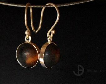 Ear, porcelain, chocolate matt, 925 silver, D 11 mm