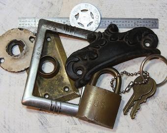 HARDWARE Salvage Altered Art Supply Lot Escutcheons Rosettes Lock Ruler Keys- O9