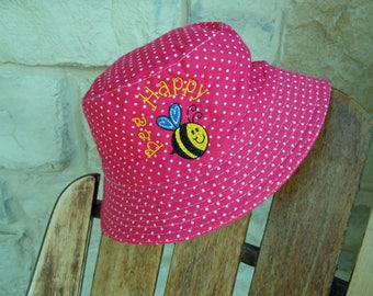 "Baby/Toddler Girl Bucket Sun Hat with embroidered ""BEE HAPPY"" Bee-Little Girls' Summer Sun Hat-Pink Dot Bucket Hat-"