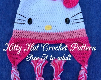 Kitty Hat Crochet Pattern size 5T to adult
