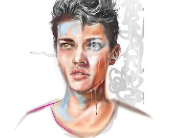 Portrait Print - Portrait Illustration - Illustration Print