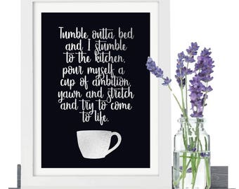 Working 9 To 5 Pour Yourself A Cup Of Ambition Dolly Parton Lyrics Poster, Kitchen Coffee Print, Kitchen Decor, Kitchen Print, Foil Print