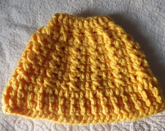 Yellow Bulky  Messybun Beanie