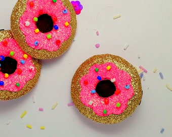 Gold glitter Doughnut hair clip, gold glitter doughnut barrette, gold glitter doughnut hair slide doughnut brooch pin Single or Pairs