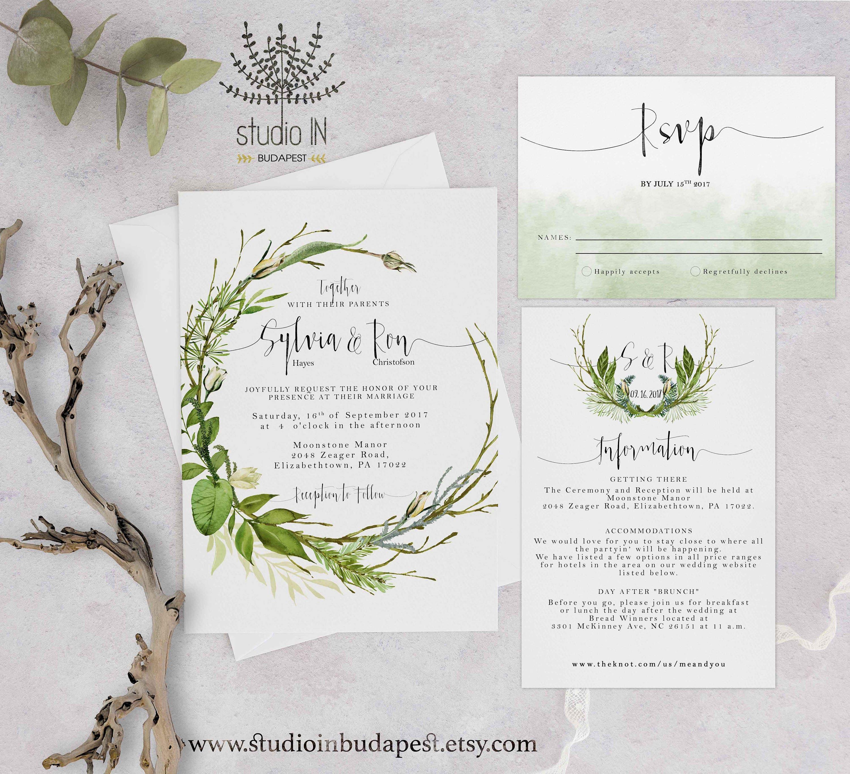 Green foliage Wedding Invitation woodland wedding invite