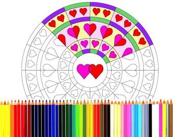 Circle hearts mandala, printable mandala for coloring, mandala for instant download, valentines coloring book page printable, pdf/jpg file