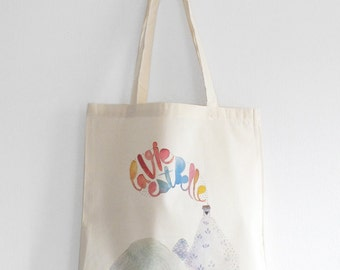 La Vie est Belle cotton tote bag, Inspirational french quote, Watercolor shopping bag, Eco friendly, Organic cotton, Gift, French gift, Arty