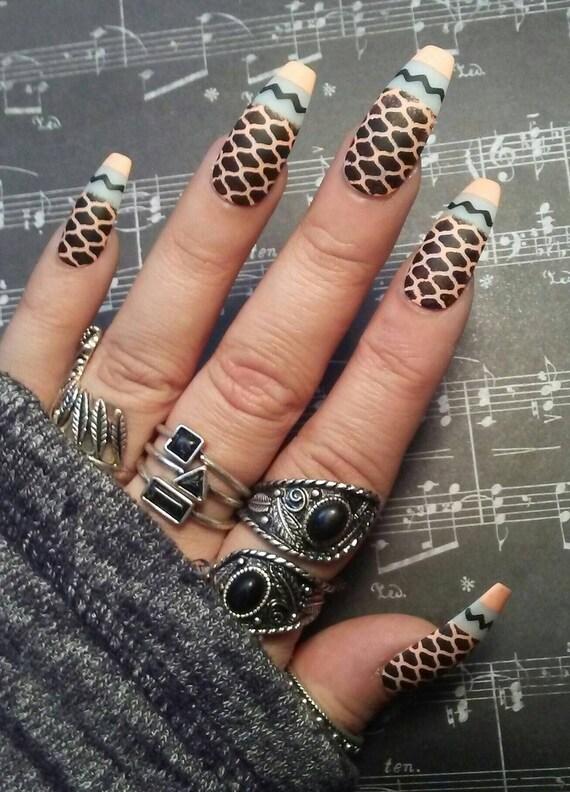 Coffin Nails Matte Black/Peach Fishnet Design Gothic/Goth