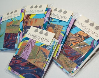 Card Making papers Unique Marbled paper scrap pack Free US shipping