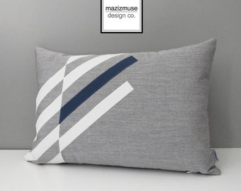 Grey & Sapphire Blue Outdoor Pillow Cover, Modern Pillow Cover, Decorative Gray White Sunbrella Cushion Cover, Masculine Pillow, Mazizmuse