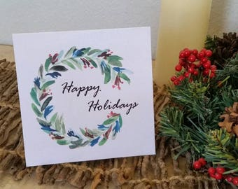 Watercolor print holiday cards with envelopes set of 4