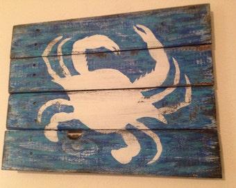 Crab wall decor - crab art on wood