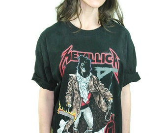 Vintage Metallica shirt 1992 Unforgiven Pushead All Over Print Tye Dye Double Sided Rare Print Double Sided Metallica Tee L