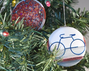 Bike Ornament - Bicycle Ornament - Glitter Ornament - Red White and Blue Bike Holiday Ornament - Sparkly Cycle Ornament - Origial Image